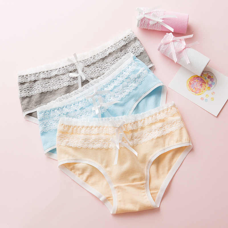 c7d2678ce6 TWTZQ Double Bowknot Underwear Girl Kawaii Lace Cute Panties Women Soft  Cotton Seamless Female Briefs Sexy