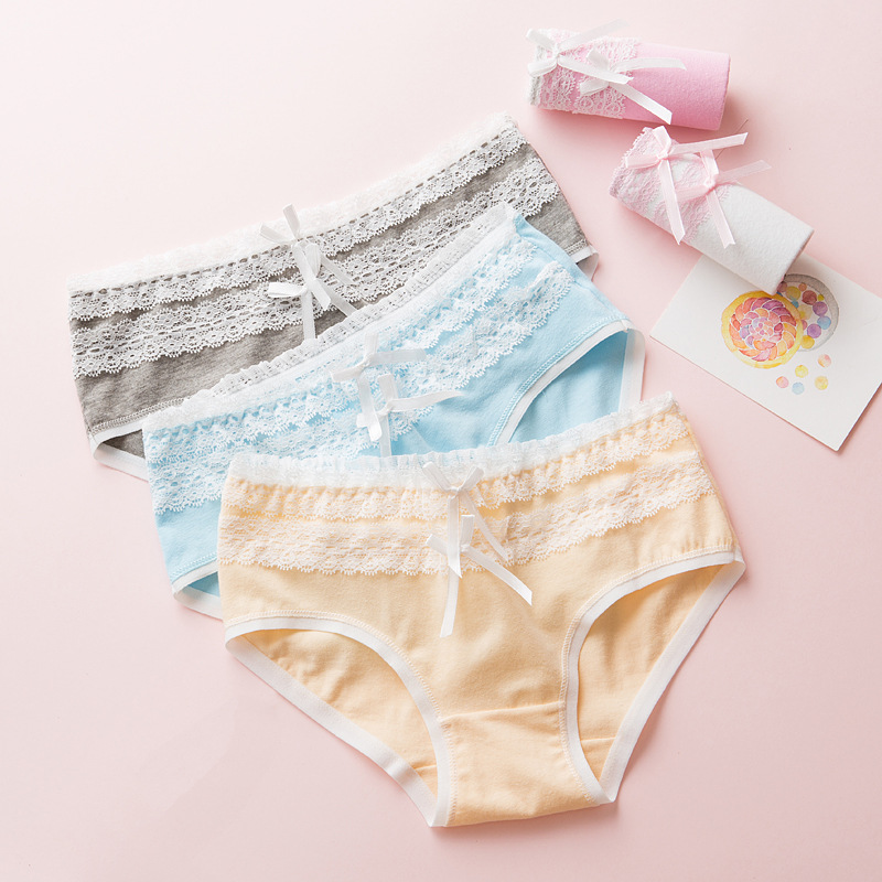 TWTZQ Double Bowknot Underwear Girl Kawaii Lace Cute   Panties   Women Soft Cotton Seamless Female Briefs Sexy Lingerie A3NK089