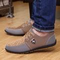 2016 para hombre Zapatos Casuales para hombre zapatos de lona para los hombres zapatos de los hombres Planos de la manera de Cuero marca de moda ante Zapatos de hombre