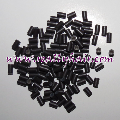 342060 1000pcs micro copper rings beads links tubes with silicone lined 1#Black