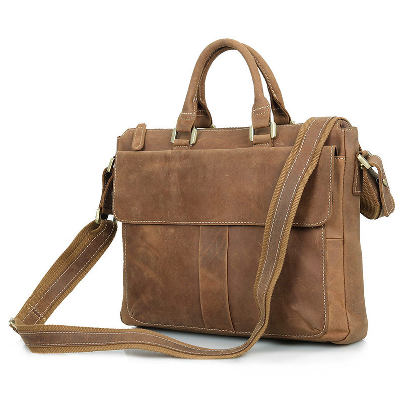 Vintage Crazy Horse Genuine Leather Men Messenger Bags Cowhide Leather Men s Briefcase Brown Business 14