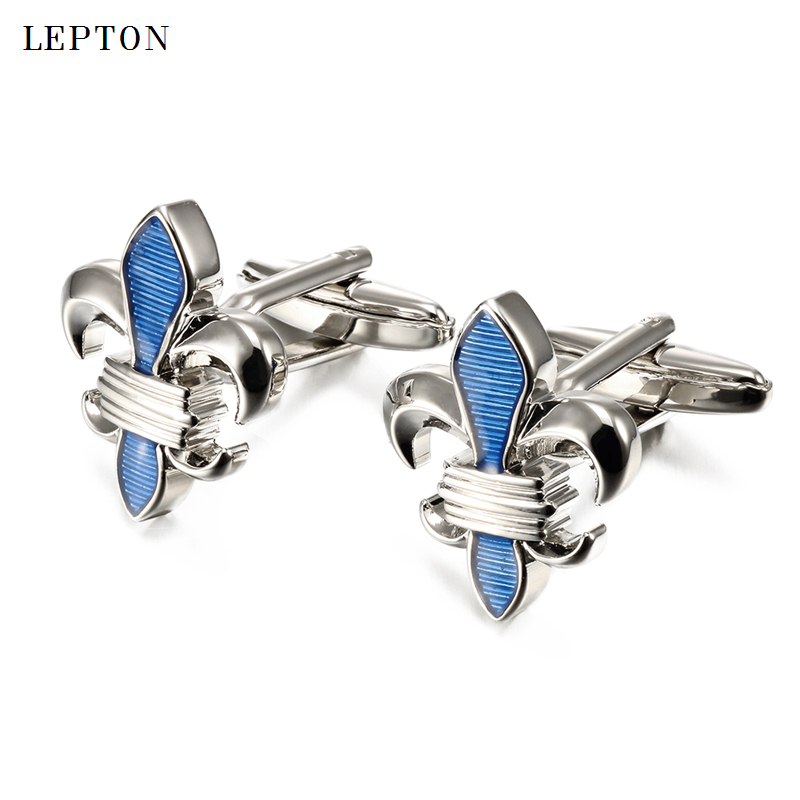 Hot Sale blue Fleur De Lis Cufflinks For Men Lepton Stainless Steel Top Quality Enamel Crusade Design Cuff links Relojes gemelos