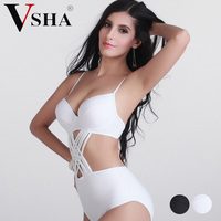 Vsha Women Sexy Black White Bikinis Suit Pure Color Brazilian Model Swimsuit All Size One Piece