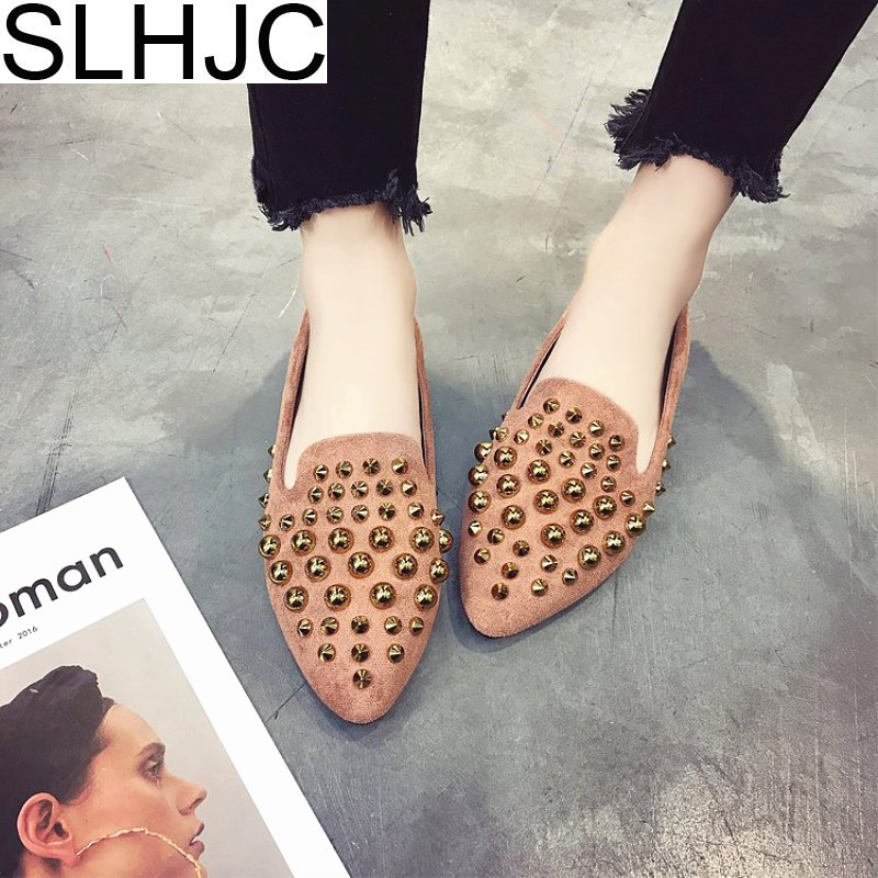 SLHJC Rivet Shoes Women Flat Heel Pointed Toe Fashion Spring Summer Slip On Loafers Boat Shoes 2018 New Arrival 2017 new fashion spring summer boat shoes women candy color flats pointed toe slip on flat fashion casual plus size pu shoes