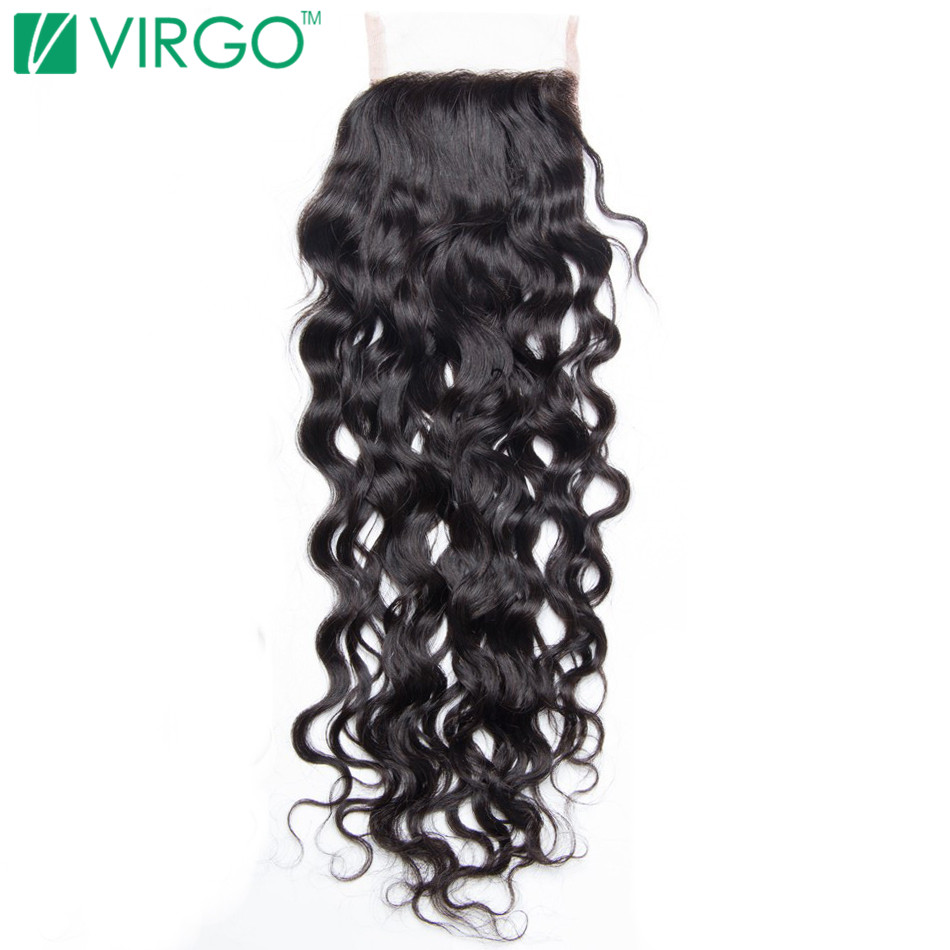 Volys Virgo Remy Hair Swiss Lace Closure Water Wave 4x4 Free Part Human Hair 130 Density