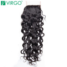 """Volys Virgo Remy Hair Swiss Lace Closure Water Wave  4×4"""" Free Part Human Hair 130% Density Natural Color Can Be Restyled"""