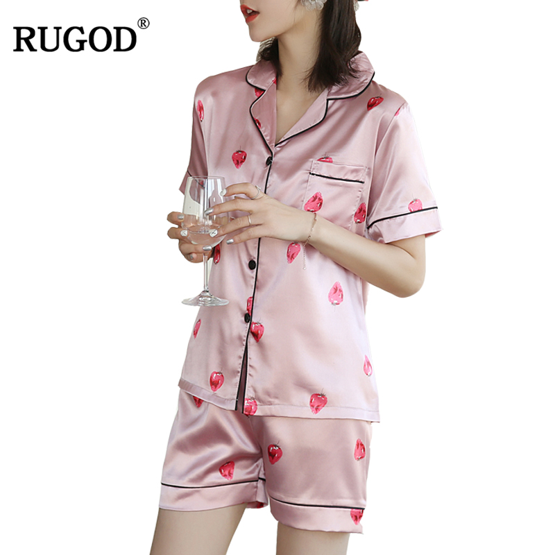 RUGOD Sweet Pink Strawberry Print Satin Pijamas Women Turn Down Collar Shirt +Shorts Sleepwear 2018 Summer WomenPajamas Suits ...