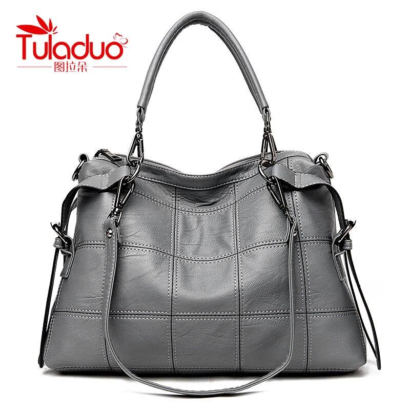 TULADUO Designer Shoulder Bag Women Famous Brands Luxury Leather Handbags Vintage Tassel Tote Bag Thread Female Messenger Bags