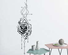 large size Geometric Rose & Arrows Wall Decal Vinyl Sticker For Bedroom Floral Technical abstract art LR75
