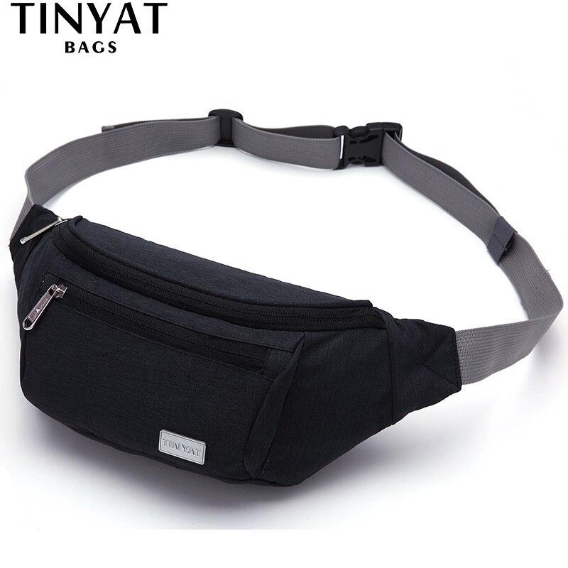 TINYAT Men Waist Bag Pack Travel Phone Belt Bag Pouch for Men Women Men Shoulder bag Canvas Fanny pack Casual Hip pack Men Bag