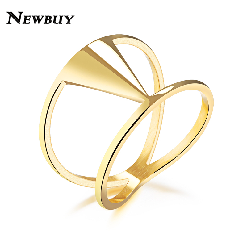 NEWBUY Fashion Gold-color Stainless Steel Ring For Women Hot Sale Modern Female Party Ring 2017 New Design new pure au750 rose gold love ring lucky cute letter ring 1 13 1 23g hot sale
