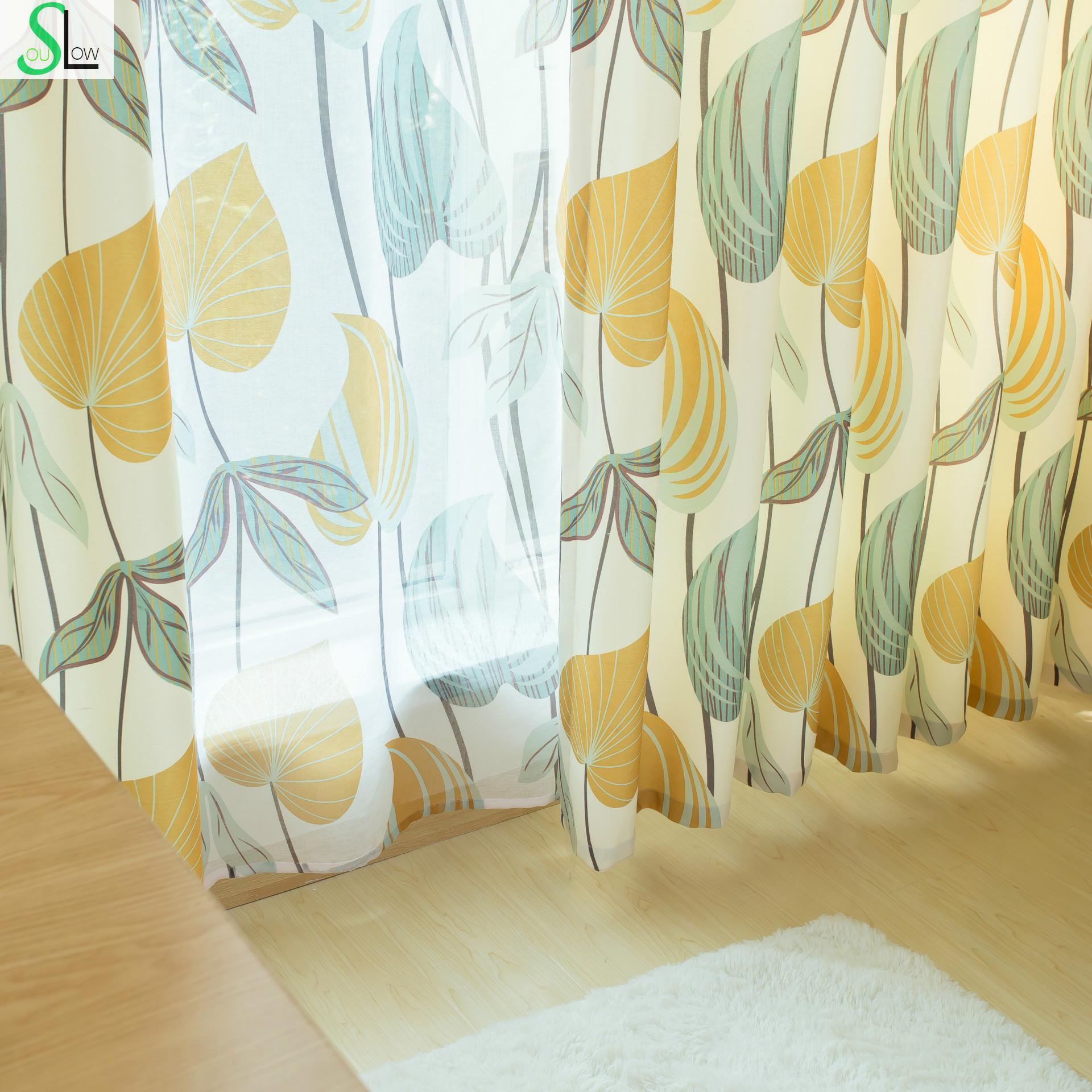 Slow Soul Autumn Yellow New Korean Pastoral Leaves Curtains Cortina For  Living Room Kitchen Bedroom Curtain Fabrics Drapes In Curtains From Home U0026  Garden On ...
