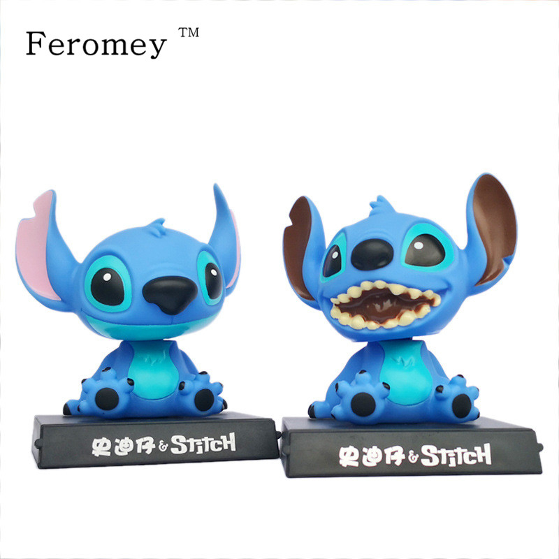 Cartoon Lilo And Stitch Figure Dolls Cute Stich Shaking Head Dolls Anime PVC Action Figure Kids Toys Car Decoration