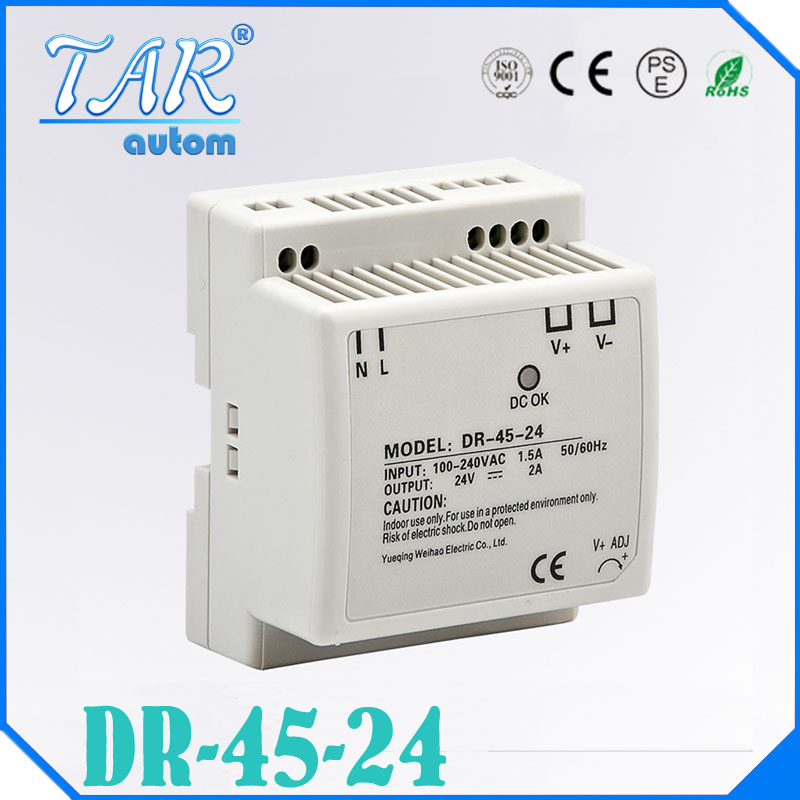 45w din rail mount switching power supply 24V Single Output AC LED input SMPS DR45-24v for cnc led light Direct Selling dhl ems md 240 24 1 din rail power supply metal case 24v 10a output 85 264vac input c4 d9