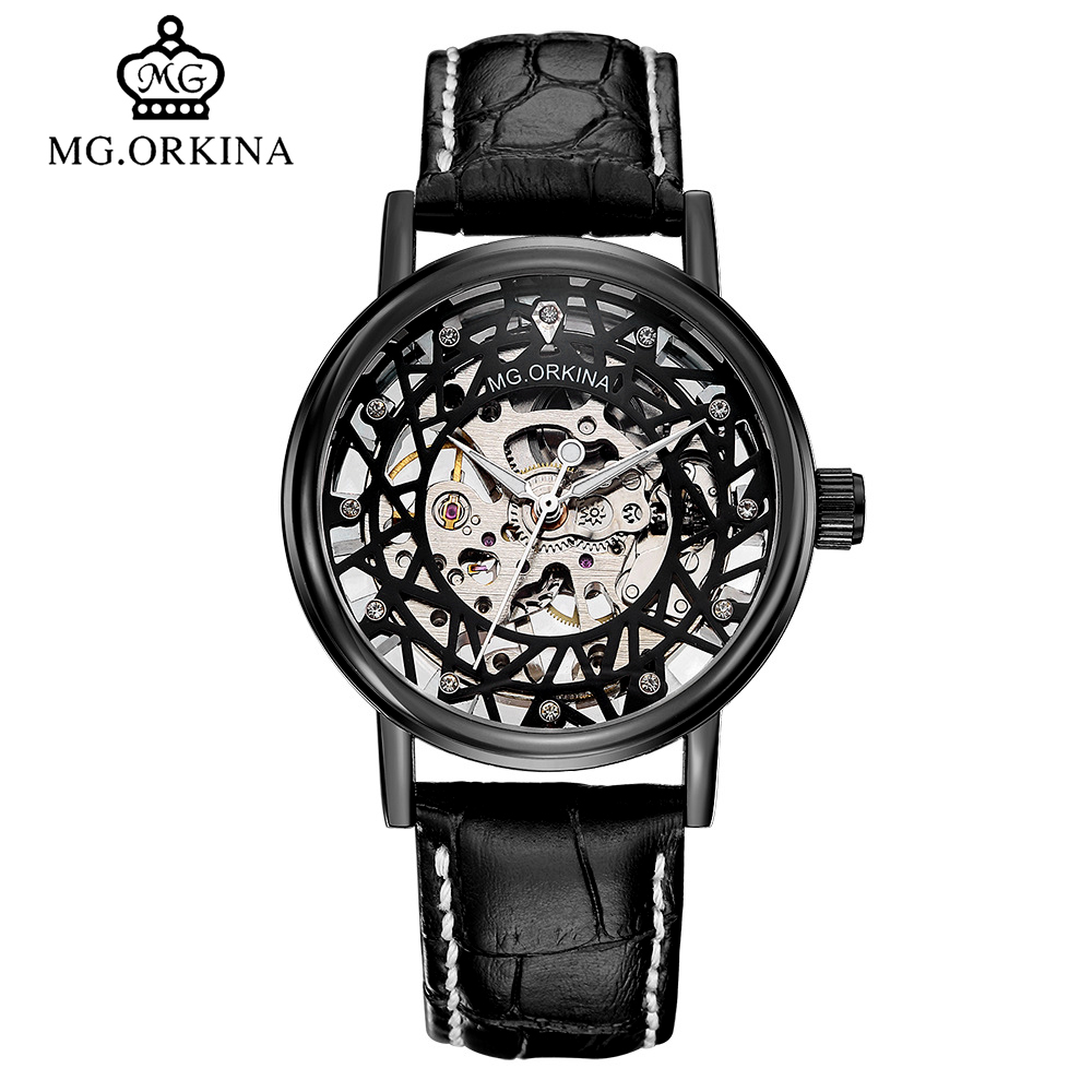 MG.ORKINA Mens Fashion Skeleton Mechanical Hand Wind Watch Casual Black Leather Luminou Wrist Watches montre homme Clock Men soft leather mens mechanical wrist watch dragon pattern laser engraving carving gold black business men male hand wind watches