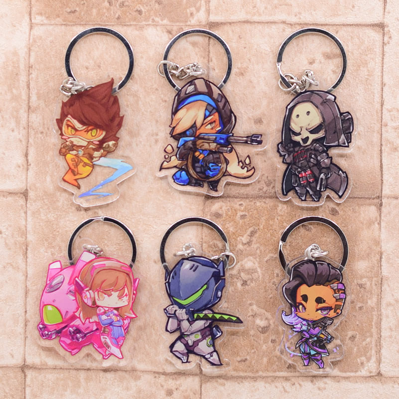 Overwatch Keychain Clear Acrylic Key Chain Pendant Anime Accessories Cartoon Key Ring