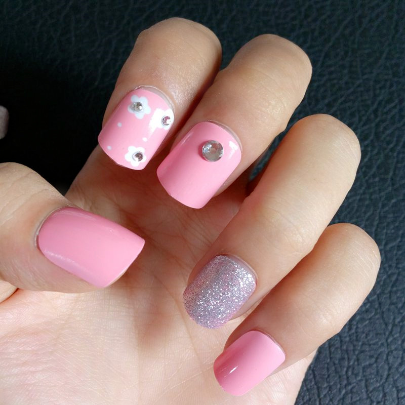 24Pcs Glitter Silver Fake Nails Sweet Pink False Nails Flowers ...