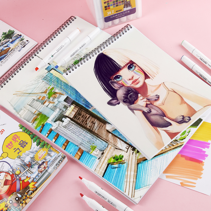 Spiral Sketchbook A3/A4 Hardcover Painting Drawing Graffiti Paper Blank Writing Memo Pad Notebook School Art Supplies Zv2110A3