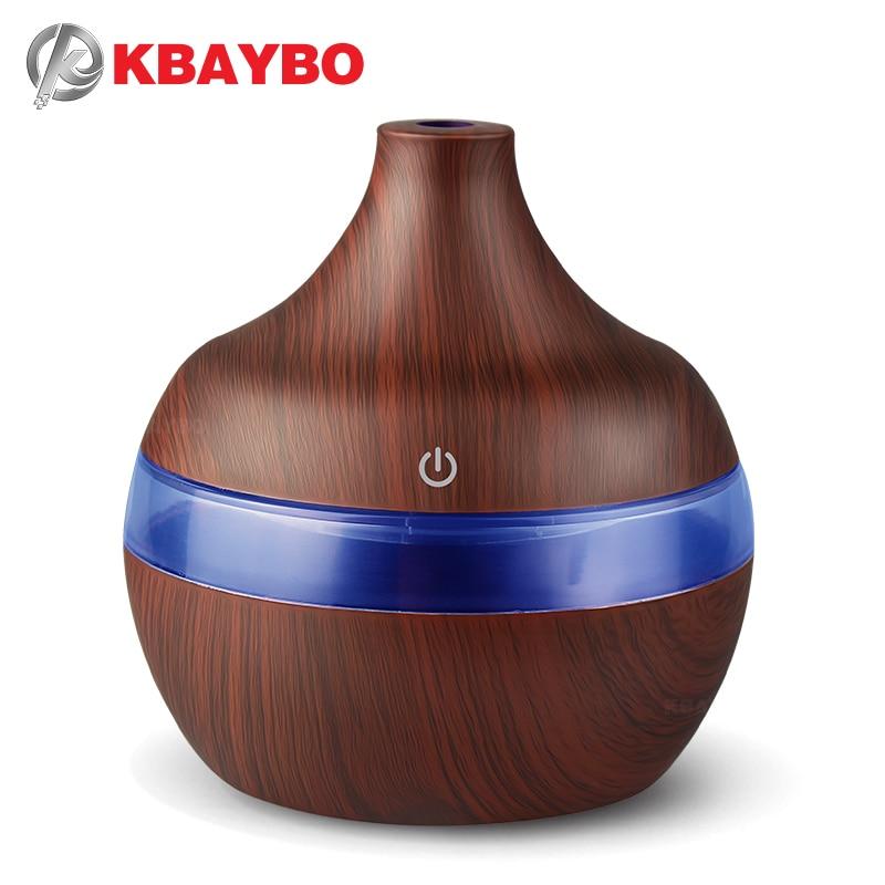 KBAYBO USB 300 ml Arôme Humidificateur Aromathérapie Bois Grain 7 Couleur LED Lumières Électrique Aromathérapie Huile Essentielle Aroma Diffuseur