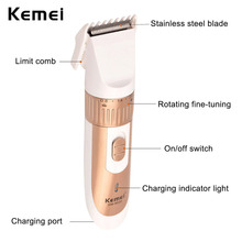 Kemei Cordless Rechargeable Hair Clipper Beard Trimmer Cutting Machine Kit Battery Electric Shaver Hair Trimmer Men Baby Shaving