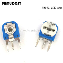 20pcs RM063 20k ohm blue and white can be adjusted resistance potentiometer