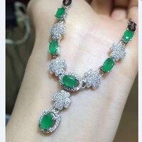 Ожерелье Qi Xuan_Fashion Jewelry_Colombian Green Stone Fashion Necklaces_Solid Silve Pendant necklaces_прямые продажи с фабрики