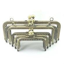10Pcs Rectangle Pattern Metal Frame Antique Bronze Tone DIY Purse Hardware Clasps Handle Buckle Bag Parts Accessories 8.5cm-20cm