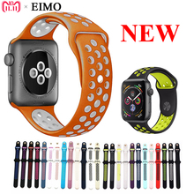 EIMO Bracelet For Apple Watch Series 4 44mm 40mm iwatch band 4/3/2/1 42mm 38mm Silicone Sport Strap Colck Wrist Belt watchband