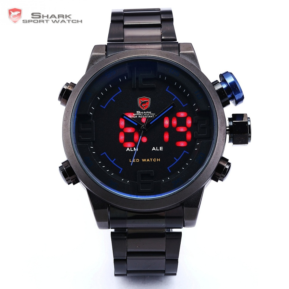 Gulper SHARK Sport Watch Luxury Brand LED Analog Date Quartz Blue Button Steel Strap Men Quartz Watches relogio masculino /SH106 gulper shark sport watch red black digital steel band dual movement reloj de pulsera led date alarm men s quartz watches sh360