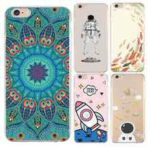 Rocket Soft Clear TPU Telefoon Case Voor iPhone 4/4 s 5 5 s 6 6 plus 7 8 plus Voor iPhone x Siliconen Mandala Astronaut Tassen Gratis Verzending(China)