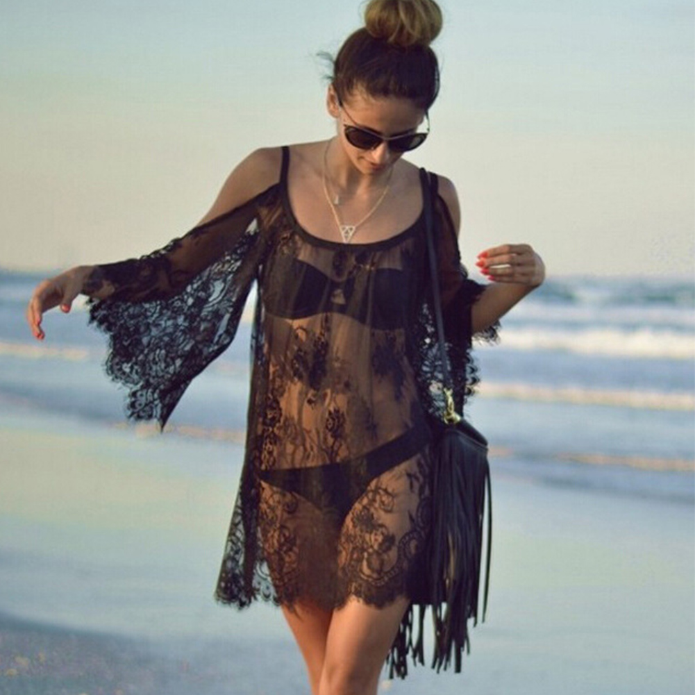 Women Beach Dress Sexy Strap Sheer Floral Lace Embroidered Crochet Summer Dresses Hippie Boho Dress Vestidos Beach Wear