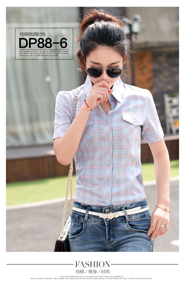 HTB1862RHFXXXXatXXXXq6xXFXXXB - New 2017 Summer Style Plaid Print Short Sleeve Shirts Women