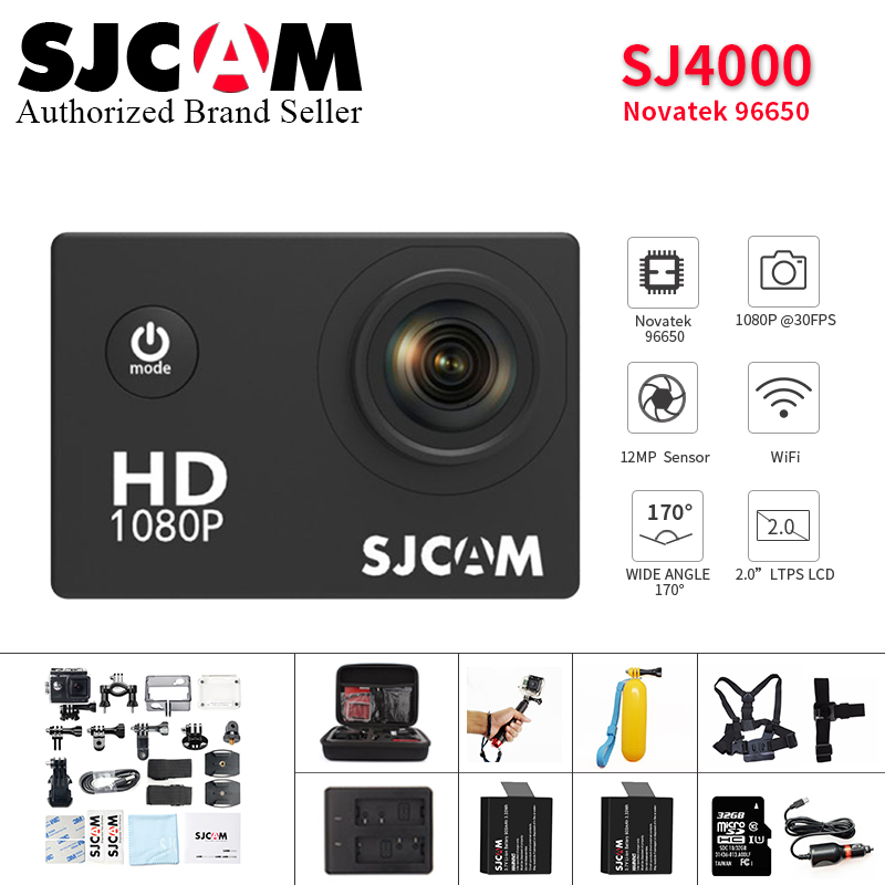 Original SJCAM SJ4000 caméra d'action de base étanche pro 1080 P casque Full HD camara mini caméscope SJ Cam pk eken h9r yi 4 k