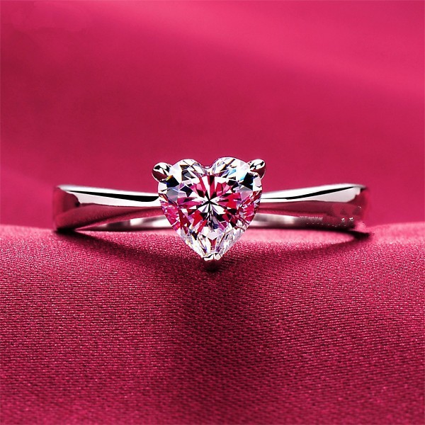 484638b35f00a Test Moissanite Solitaire Love Shape Engagement Ring Lovely Diamond Heart  Cut 7 7mm Solid 18K