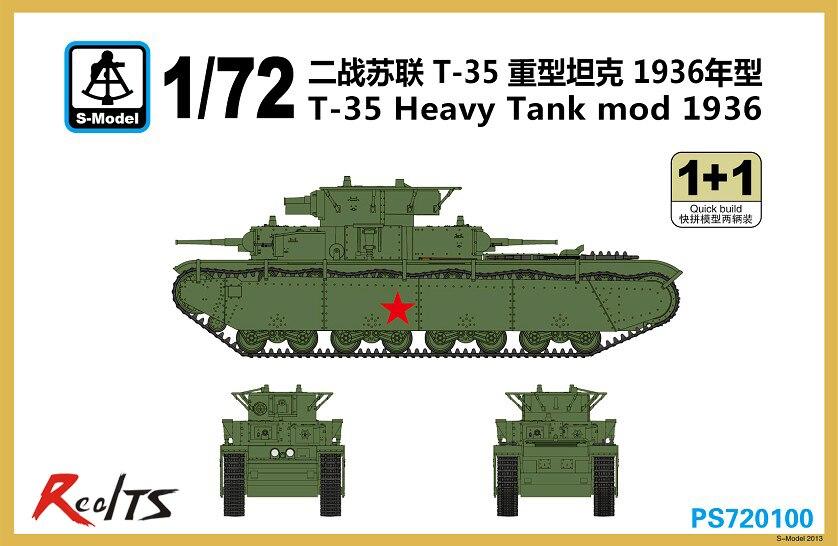 RealTS S-modèle PS720100 1/72 T-35 Lourd Réservoir Mod 1936 En Plastique modèle kit