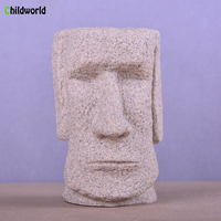 Creative Sandstone Sculpture Easter Island Stone Pen Holder Decoration Study Furniture Home Decoration Accessories