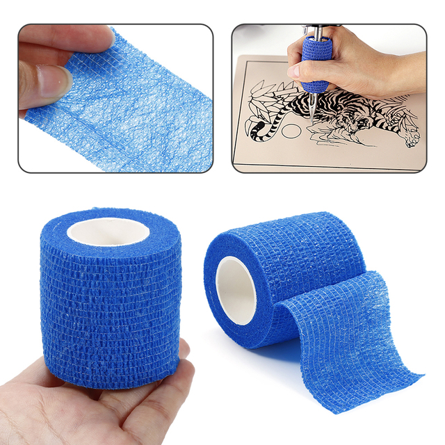 1 Roll 5cm Wide Tattoo Self Adhesive Elastic Bandage Wrap for Tattoo Strip Tubes Sports Tennis Elbow Bandage Tattoo Accessories 5