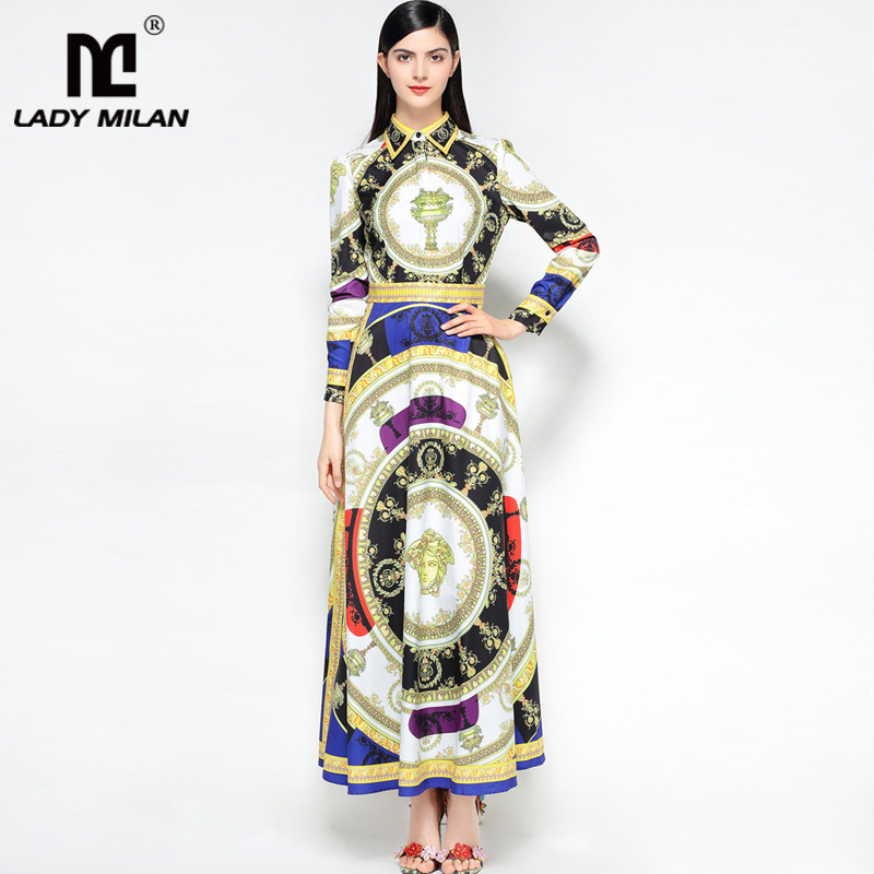 New Arrival 2018 Womens Turn Down Collar Long Sleeves Vintage Printed A Line Elegant Maxi Designer Runway Dresses