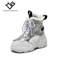 IGU/Женская обувь, сникерсы из натуральной кожи, с высоким берцем, на толстой подошве, Сникерсы, обувь на платформе для женщин, хип хоп, меховая