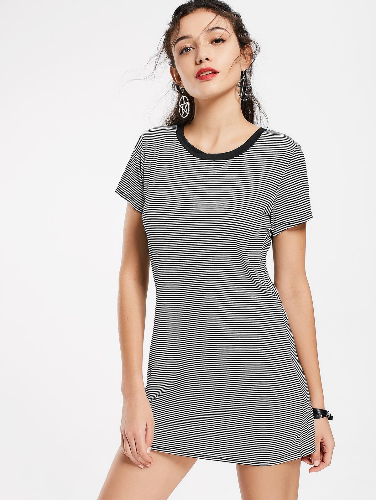 Kenancy Women Striped Casual Mini Dresses Summer Style -4665