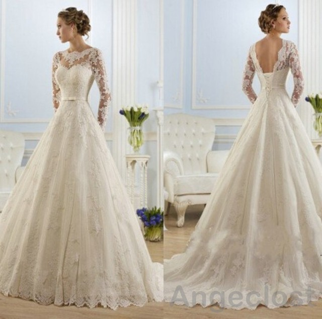 2017 Vintage Lace Wedding Dresses Long Sleeve Appliques Backless A ...