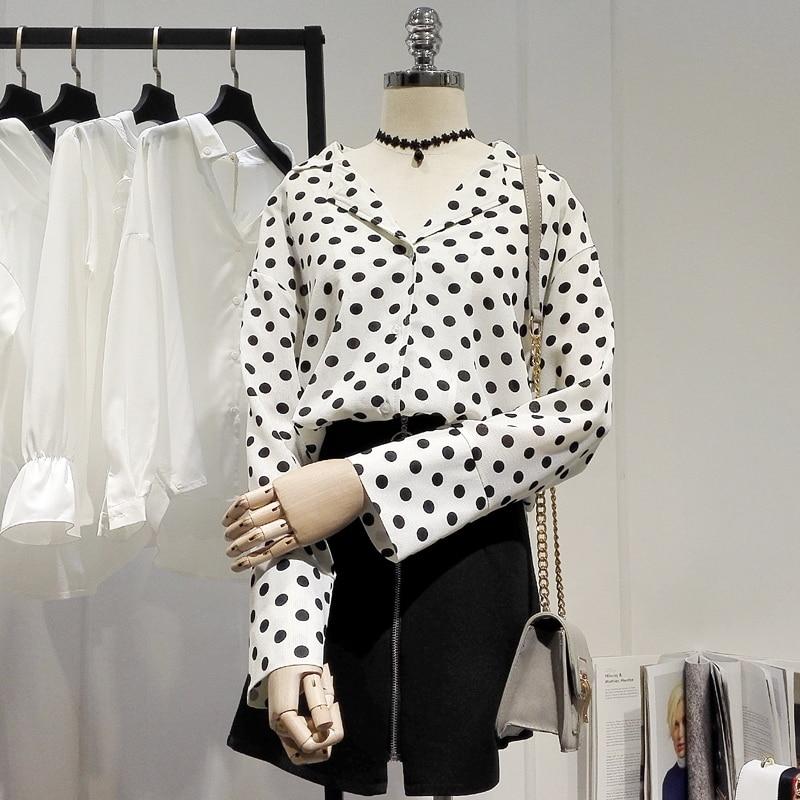 New design high quality blouse shirt woman casual polka dot chiffon shirt for 47.5-65kg femme
