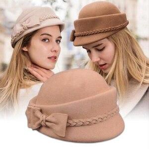 Image 1 - エレガントな 100% ウール Fedora の冬帽子女性女性の弓のベレー帽キャップピルボックス帽子 H3
