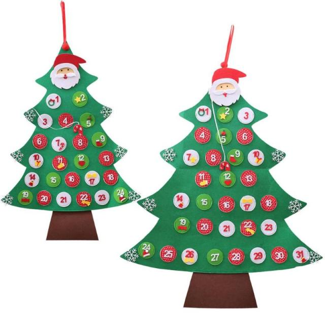 2431 days hanging christmas advent calendar non woven fabric christmas tree countdown calendar - Hanging Christmas Decorations