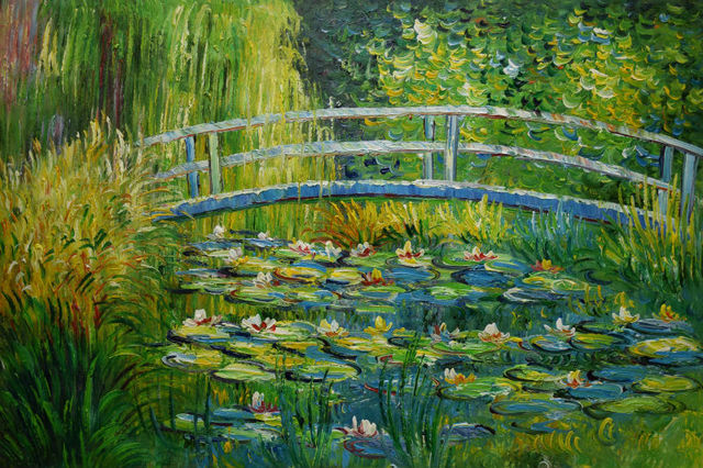 Handpainted Modern Impressionism Claude Monet Lily Pond