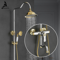 Shower Faucets Brass Gold Faucet Square Tube Single Handle Top Rain Shower With Slide Bar Wall Water Mixer Tap 877005LK
