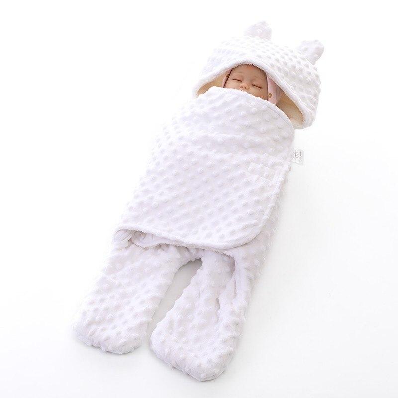 MOTOHOOD Coral Fleece Infant Swaddle Stroller Wrap For Newborn Baby Bedding Blankets Winter Thicken Velvet Baby Blanket Swaddle (3)