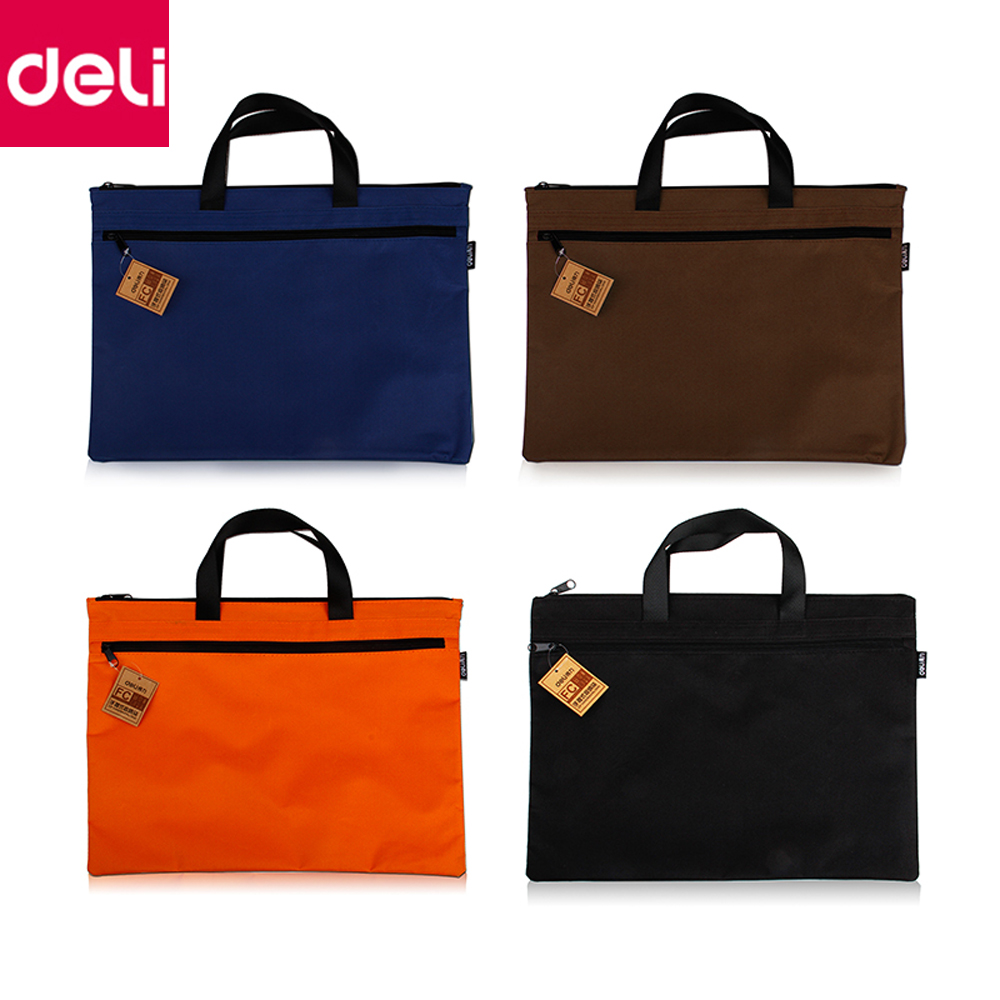 Deli 1pcs A4 Size Big Capacity Document Bag Organizer Bag Business Briefcase Storage File Folder Bag for Papers Stationery deli canvas file folder document bag business briefcase a4 paper storage organizer bag stationery school office supplies student