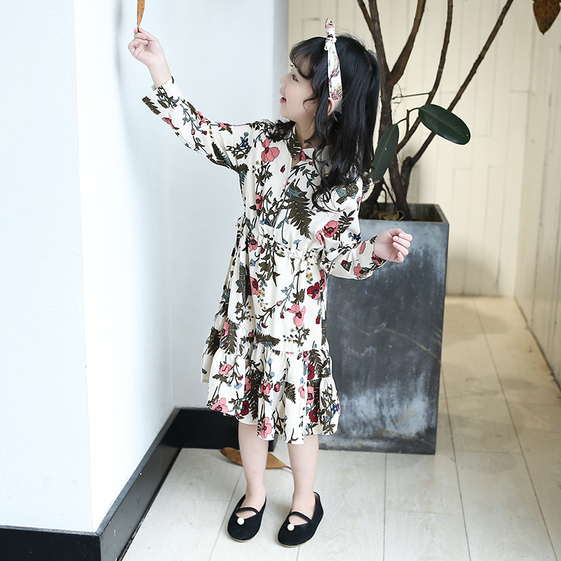 Floral Elegant Dresses For Girls Teenagers 2018 Autumn Long Sleeve Print Kids Dress 5 6 7 8 9 10 11 12 13 Years School Costume купить в Москве 2019
