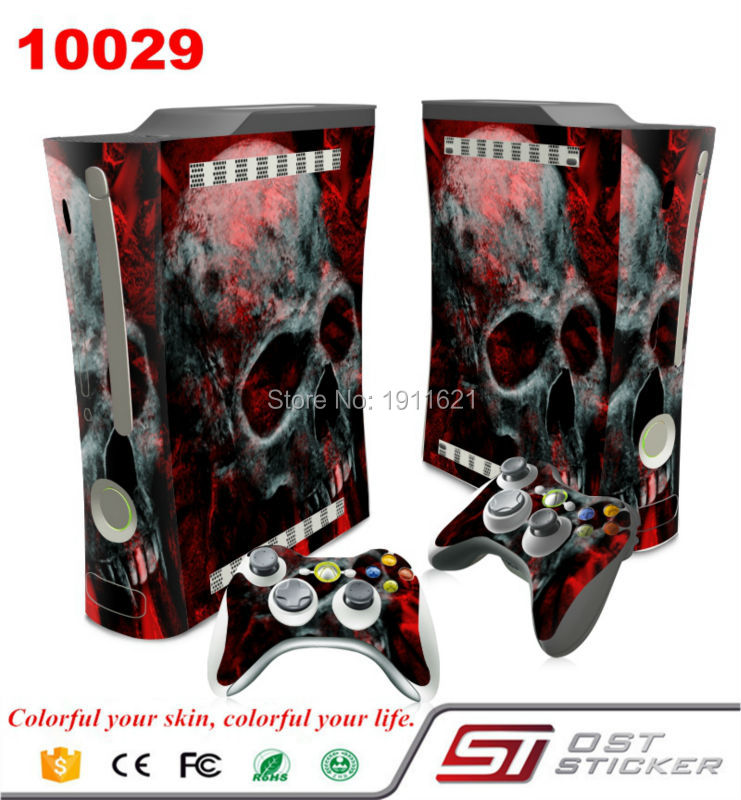 Skull in fire Protective Vinyl decal for Xbox 360 console and controllers skin wrap